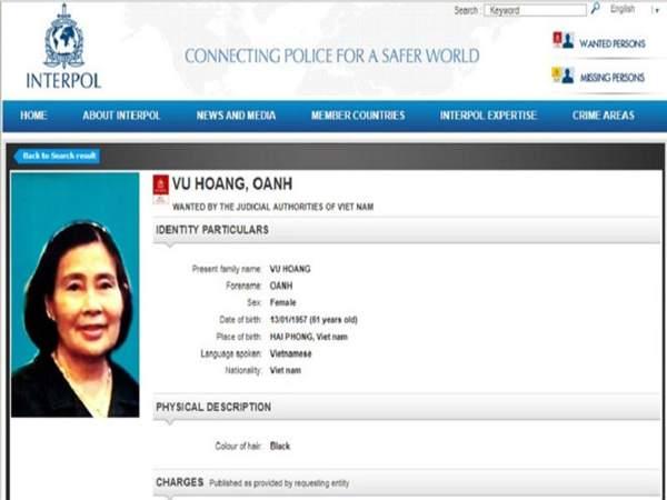 Thông tin truy nã Vũ Hoàng Anh trên website của Interpol