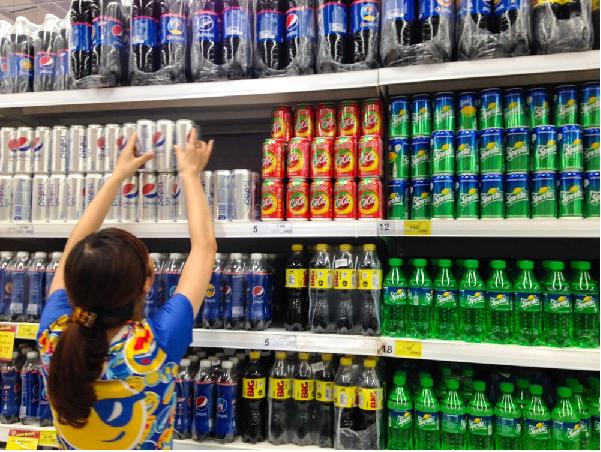Một số hàng hóa tại siêu thị big c có bày bán sản phẩm thị trường nước ngoài