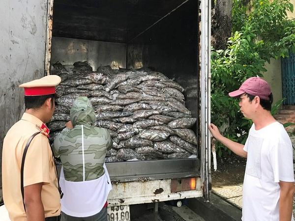 Lực lượng chức năng bắt giữ xe tải chở 3,5 tấn cá thối ở Đà Nẵng