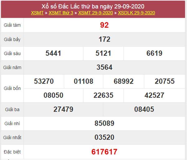 Dự đoán XSDLK 6/10/2020 chốt số ĐăkLắc thứ 3 siêu chuẩn