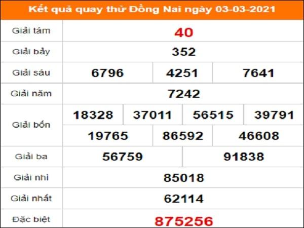 Quay thử Đồng Nai ngày 3/3/2021 thứ 4